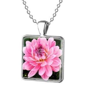 Jewelry - Pink Peony Flower Mosaic Glass Pendant Necklace